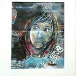 portrait réalisé au pastel sur un fond acrylique